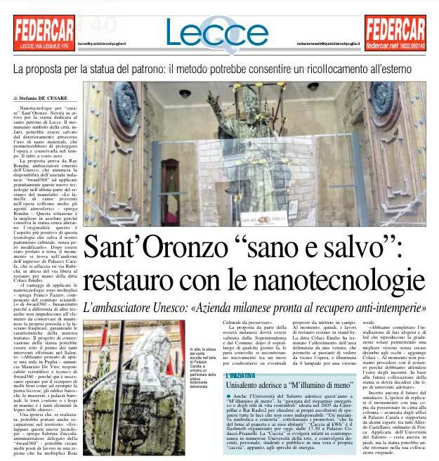 Santoronzo a Lecce Applicazioni Nanotecnologie